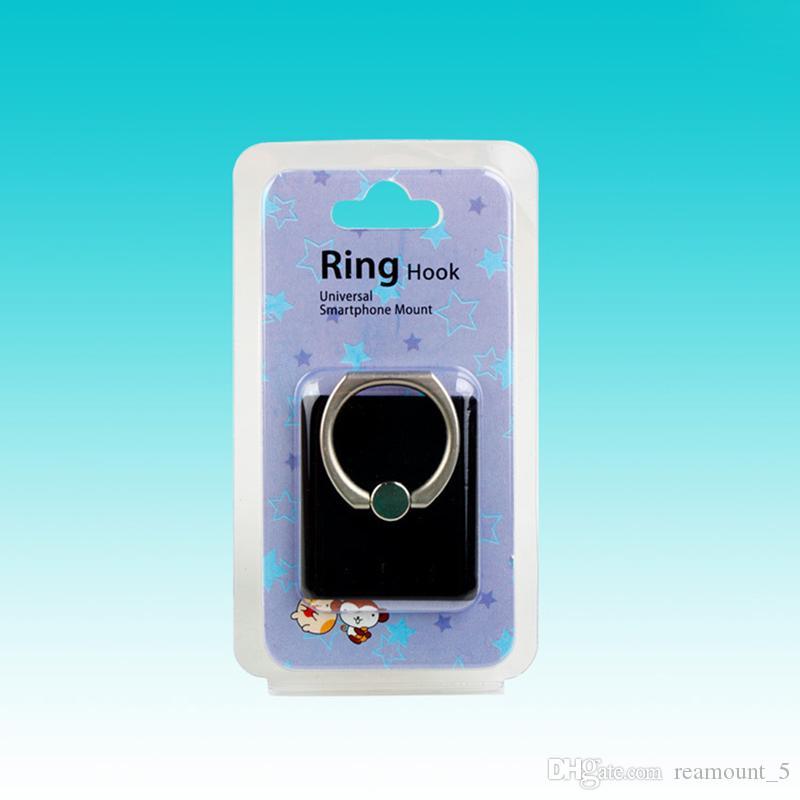 Werbeartikel Verpackung Box Für Handy Griff Ring Papierkarte Mit Klaren PVC Fenster Benutzerdefinierte Paket Box Für Telefon Ständer Halter