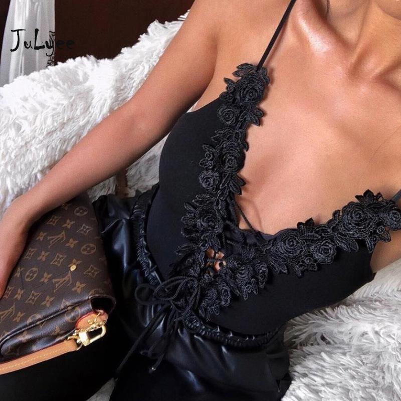 JULYEE femmes Bodys solide brodé sexy panneau V-cou bandage Spaghetti Strap évider Backless Bodysuit