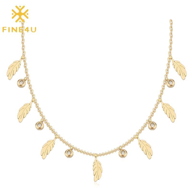 FINE4U N520 Stainless Steel Leaf Choker Necklace Simple Feather Pendant Necklace For Women Girls Gift