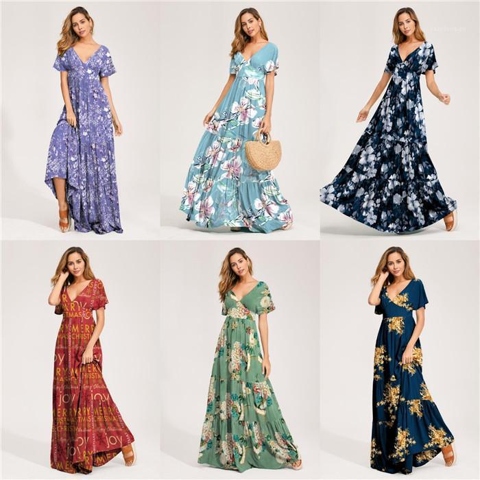 Druck-Strand Holidday Designer reizvolle Art Damen Kleidung mit V-Ausschnitt Frauen-Sommer-Maxi Kleider Kurze Blumen