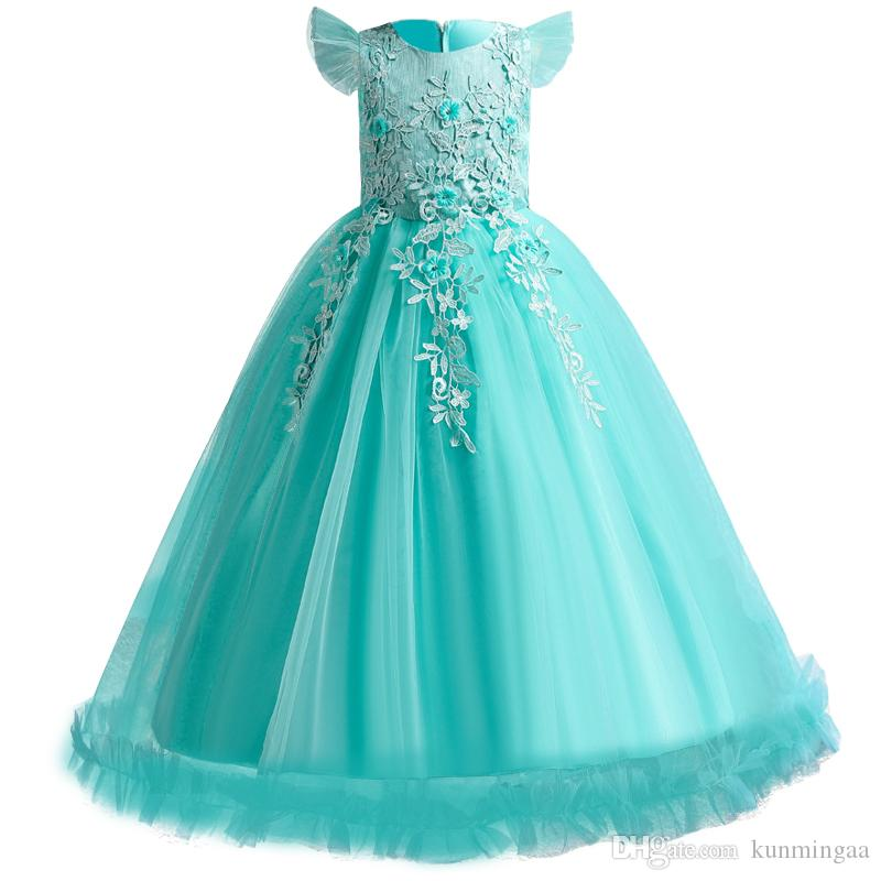 2019 Teenager Girls Summer Dress Kids Dresses For Girls Sleeveles Pageant Formal Princess Dress Party Wedding Dress 4 10 12 Year