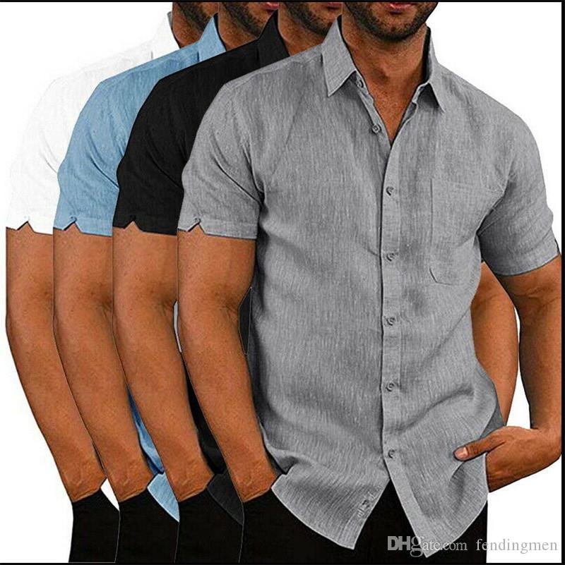 Летние мужские дизайнерские футболки Модные Сплошные цвета с коротким рукавом нагрудные образным вырезом рубашки Повседневный Street Style Мужские рубашки