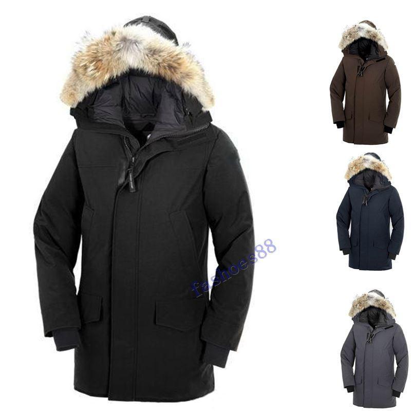 2019 Inverno Fourrure de Down Parka Homme Jassen Chaquetas Casacos Big Fur com capuz Fourrure Manteau Canadá Down Jacket Brasão Hiver Doudoune