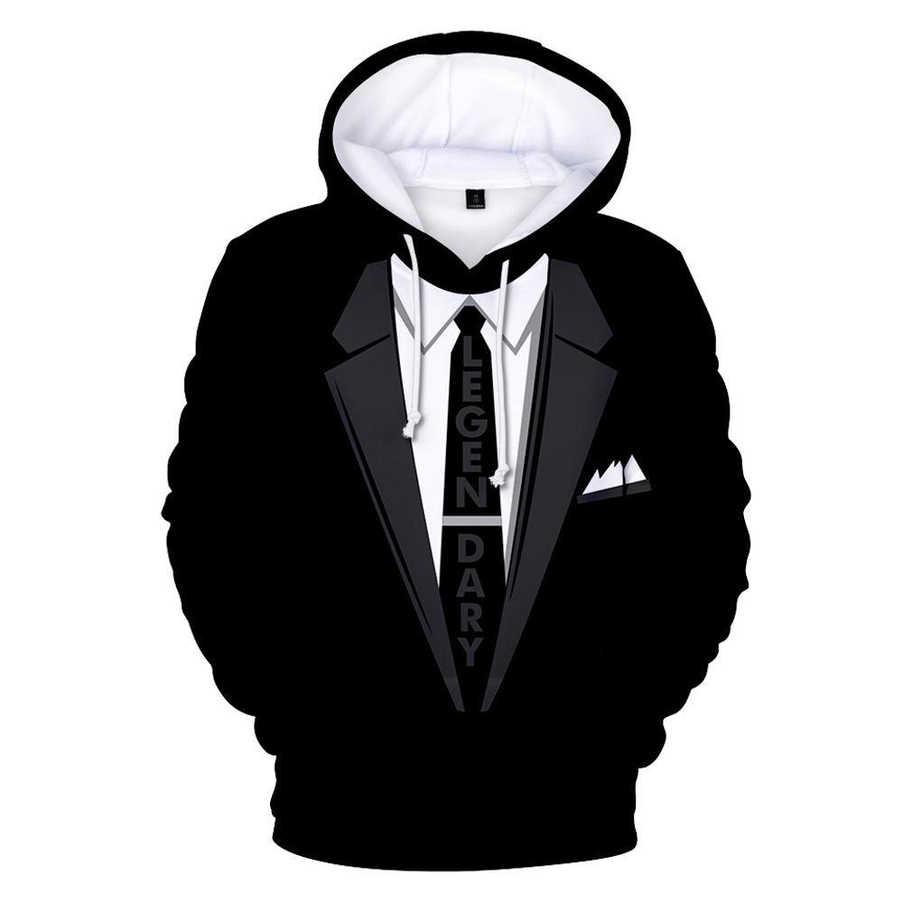 Мода 2019 Лето 3D Галстук с принтом костюм с капюшоном с длинным рукавом пуловер свитер Толстовки Куртка Пальто