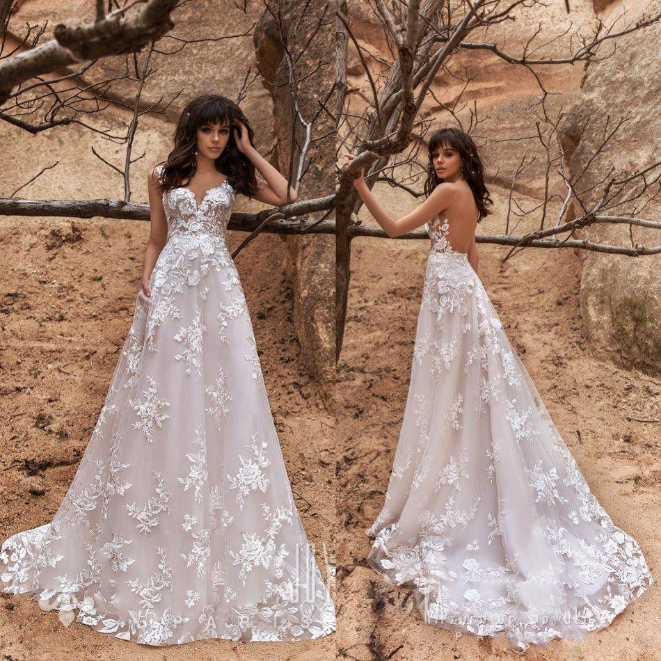 2020 New A Line Lace Wedding Dresses Appliqued Sweep Train Sexy Backless Boho Wedding Dress Custom Made Country Long Cheap Vestidos De Novia