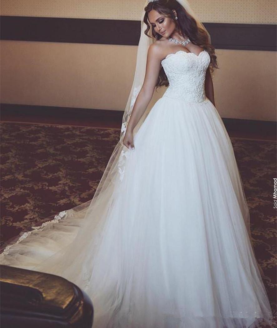 Великолепная без бретелек мягкий тюль A-Line Свадебные платья 2020 Новый сшитое Длинные кружева Милая рукавов Sweep Поезд Свадебные платья 1