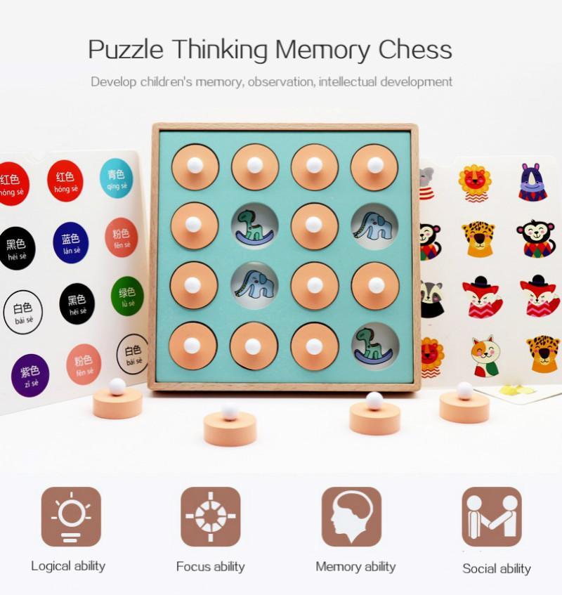 Montessori Memoria Match Juego de ajedrez 3D Rompecabezas de madera Educativa temprana Familia Familia Casual Interacción Juguete Juguete para niños Niño