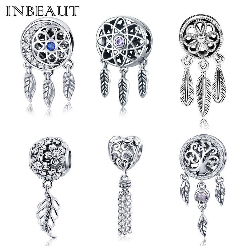 100% Authentic S925 Dream Net Lucky Feather Charm fit Pandora Bracelet 925 Sterling Silver Vintage Flower Heart Pendant Beads