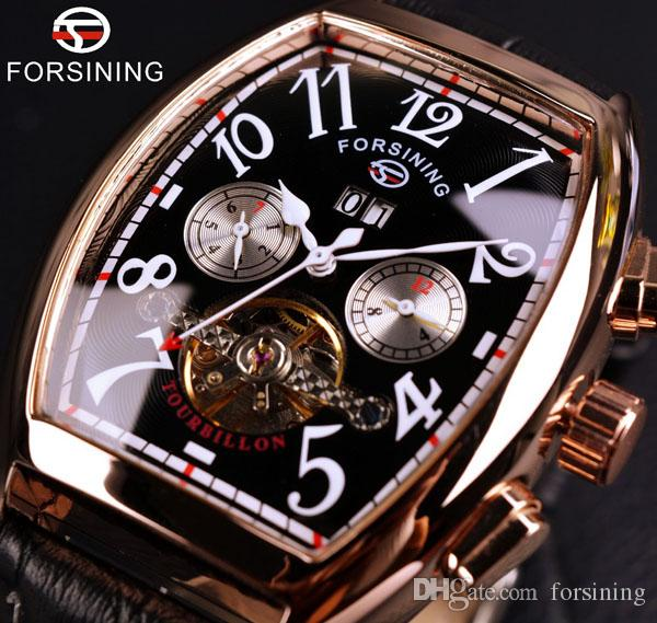 Forsining Date Month Display Rose Gold Case Mens Watches Fashion Flywheel Design Luxury Automatic Wristwatch For Men brand Clock