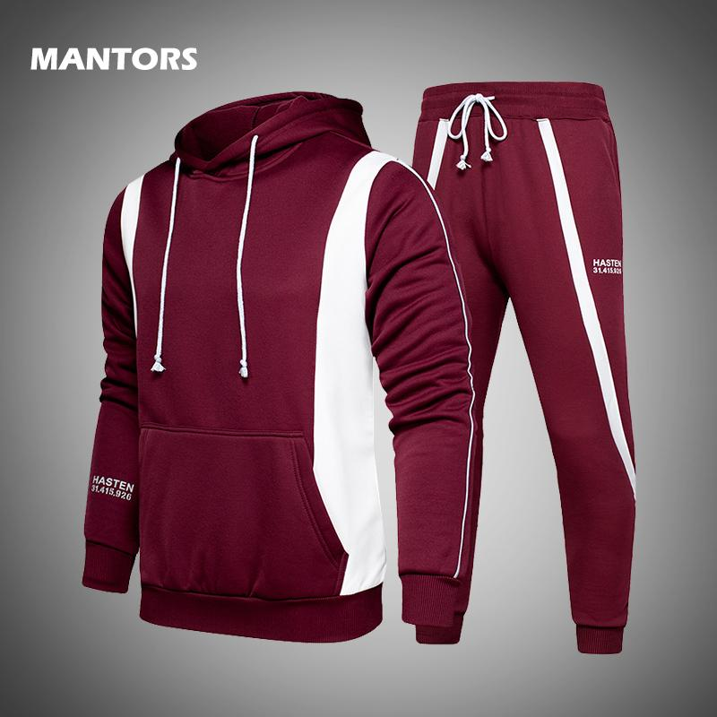 Sweats à capuche Ensembles hommes hoodies + pantalon deux pièces Ensembles costume Casual Survêtement Homme Vêtements de sport Sweat jogger automne mens costume de sport T200601