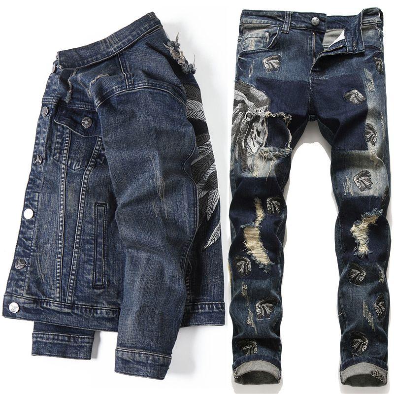 2020 유럽 스타일 남성 세트 수 놓은 인도 스트레치 데님 파란색 2 조각 기계 가츠 세트 재킷과 구멍 청바지 남성용 클루