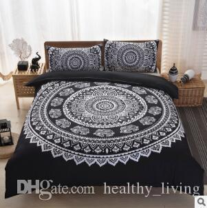 Bohemia Bedding Sets New Luxury King Size Peacocks Elephant Printed Bedding Sets Geometric Quilt Cover Pillow Case Pillow Slip Sets 36