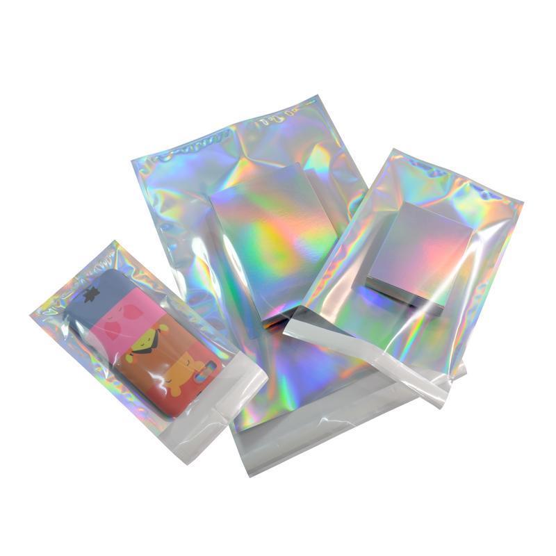 Kendinden mühür Yapışkan Kurye Torbaları Lazer Holografik Plastik Poly Zarf Mailer Posta Kargo Posta Çanta Kozmetik Kendinden mühür Yapışkan