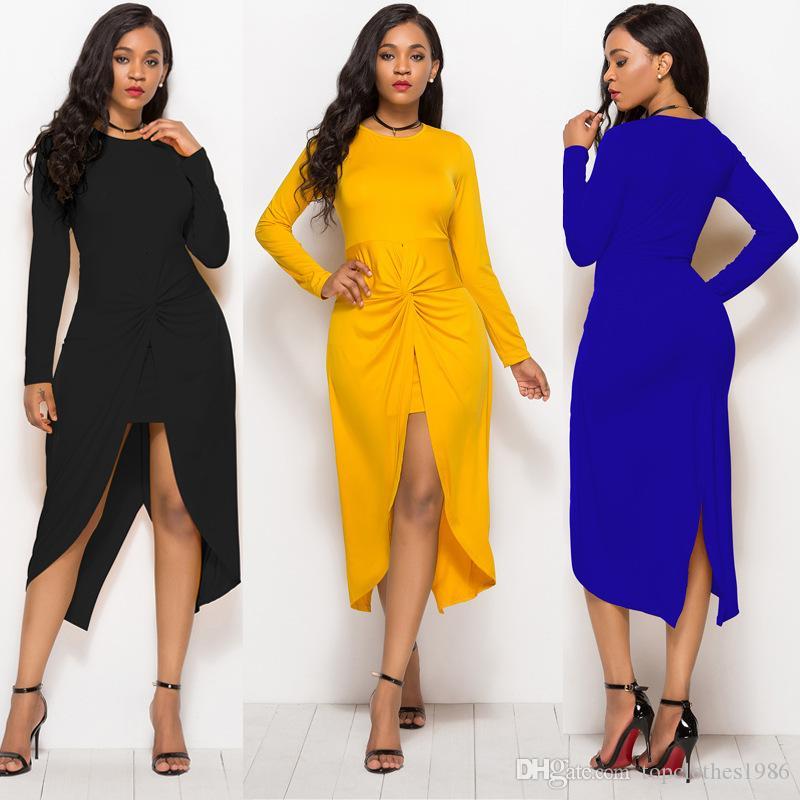 İlkbahar Sonbahar kadın Moda Elbise Katı renk boy elbise Bodycon Clubwear Seksi Parti Elbise Siyah Mavi Sarı M L XL 2XL 3XL