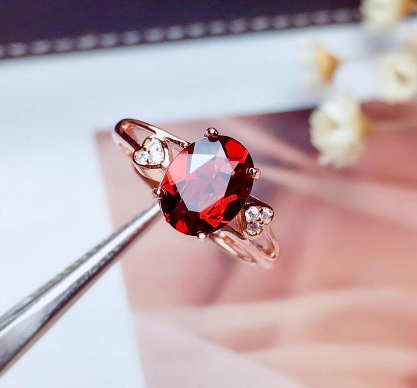 Мода романтический сердце Вилка Природный красный гранат камень кольцо S925 серебро натуральный камень кольцо девушки женщины подарок партия ювелирных украшений