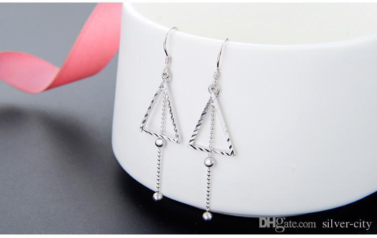 J179 Valentinstaggeschenke Top-Qualität der Frauen S925 Sterling Silber Tropfen Ohrringe Ohrhänger Silber Ohrentropfen glatt Silberohrring D