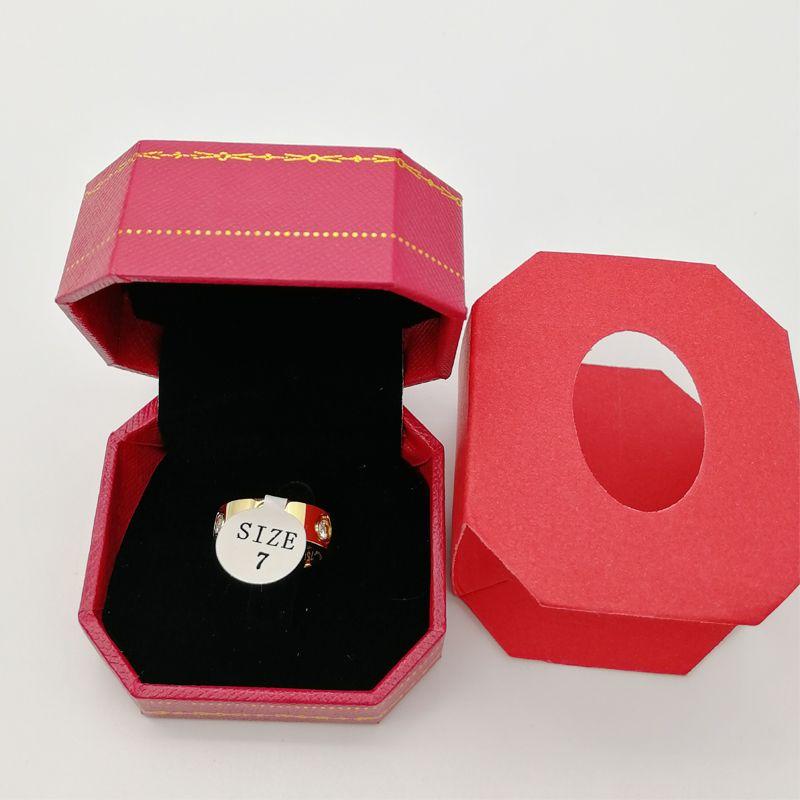 designer de luxo Titanium aço subiu anel de amor ouro para homens mulheres Luxo Zirconia anéis de noivado jóias presentes Acessórios de Moda com caixa