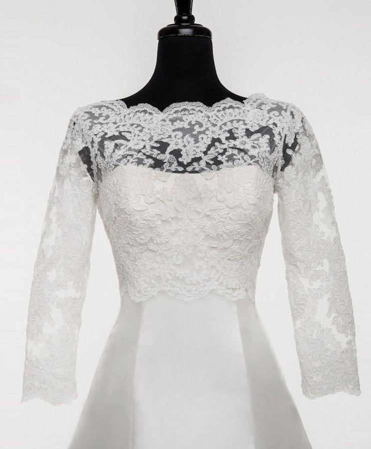 Solovedress New Wedding Boat Neck Appliqued Lace Bridal Jacket Women Custom made Formal Bolero Jacket Plus Size Capes Wraps 2020