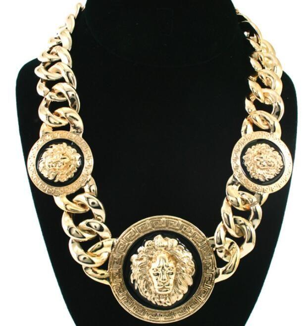 """Hip Hop Atlanta Rihanna 18"""" L Berühmtheit spornte Löwe-Kopf-Kettenverbindungs-Halskette Gold-Silber überzogener Party Männer und Frauen Halskette"""