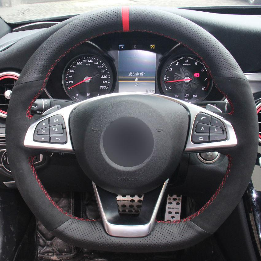 For Benz CLA220 Black Leather Black Suede Hand-stitch Car Steering Wheel Cover