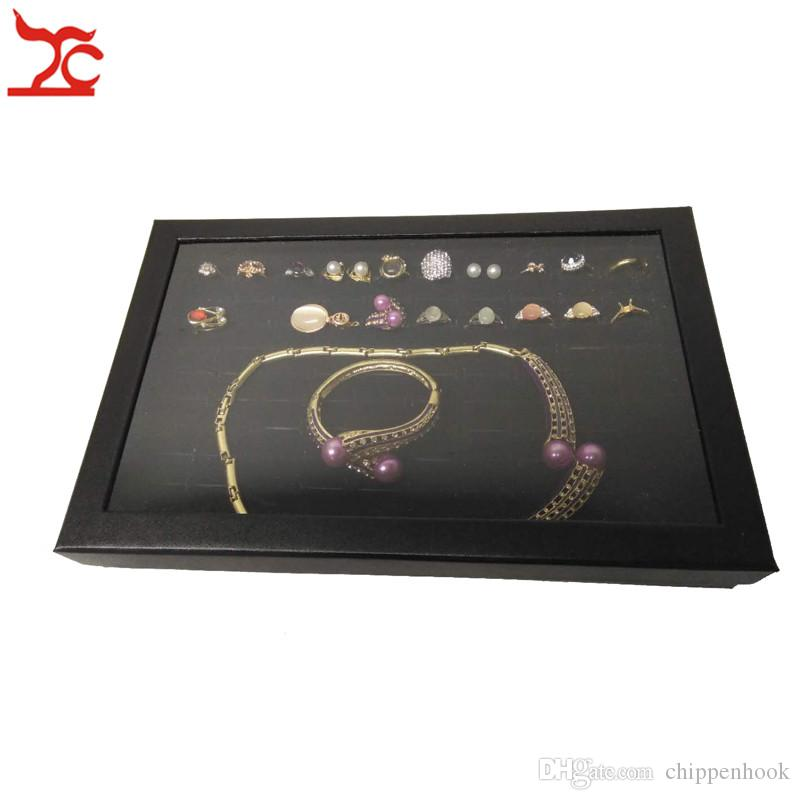 100 Slots Velvet Sponge Ring Earring Display Box Black Cufflink Jewelry Storage Case Showcase Ring Necklace Display Tray With Clear Lid