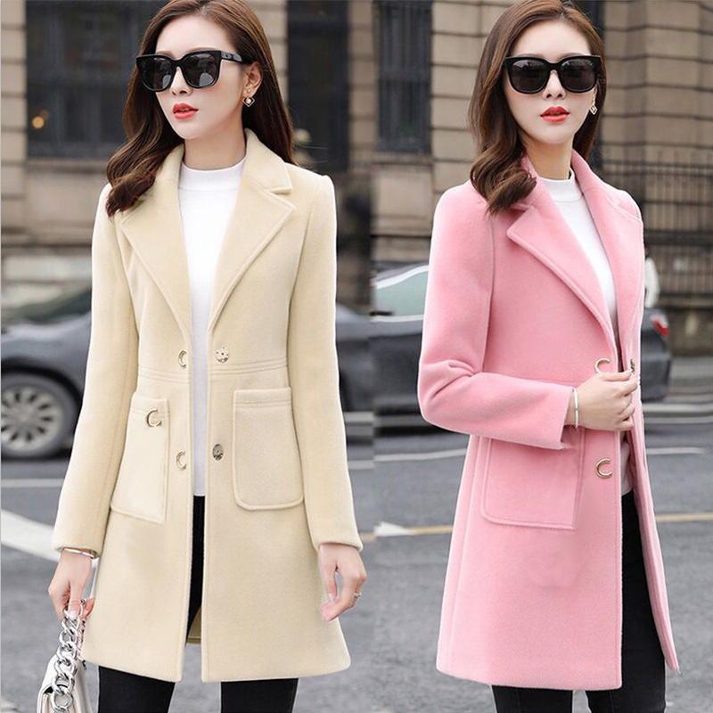 Sonbahar Kadın Coats Kış Koreli Yün Coat Sıcak Nedensel Uzun Ceket İnce Kalınlaşmak Kadın zarif Ceket Uzun Panço Kadınlar
