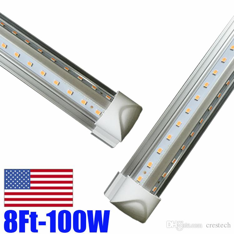 25pcs intergrated v shaped led tube t8 8ft 2.4m 2400mm 72w 7200LM led tube light AC85-277v led fluorescent tube lamp