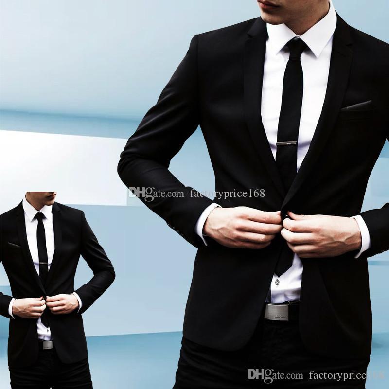 Популярные One Button Groomsmen Нотч (куртка + брюки + Tie) Жених Смокинги Groomsmen Шафер костюм мужской свадебные костюмы Жених A287