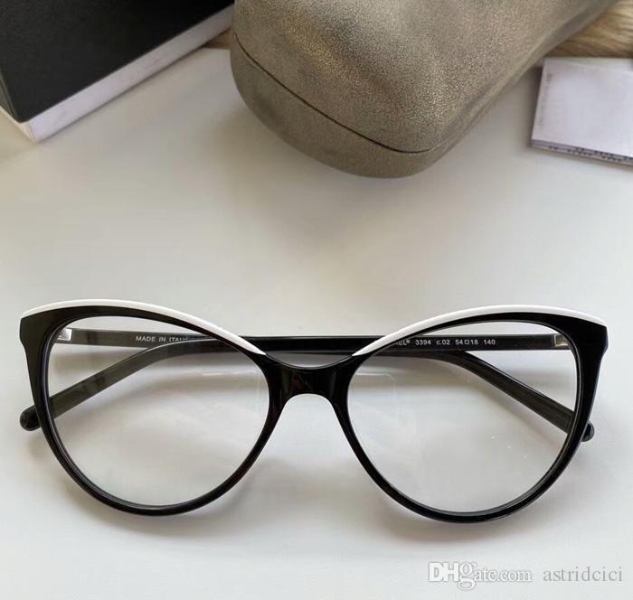 2020 Luxury struttura degli occhiali con lenti trasparenti Pianura 54-18-140 Cateyes Cat Eyes vetro di modo di disegno di marca degli occhiali completi Optical Eye Glasses