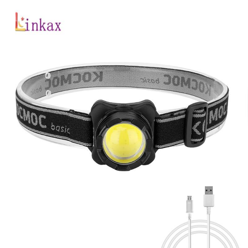 LED Headlamp USB Rechargeable Headlight COB Head Light with Built-in Battery Head Lamp 3 modes White Red Lighting