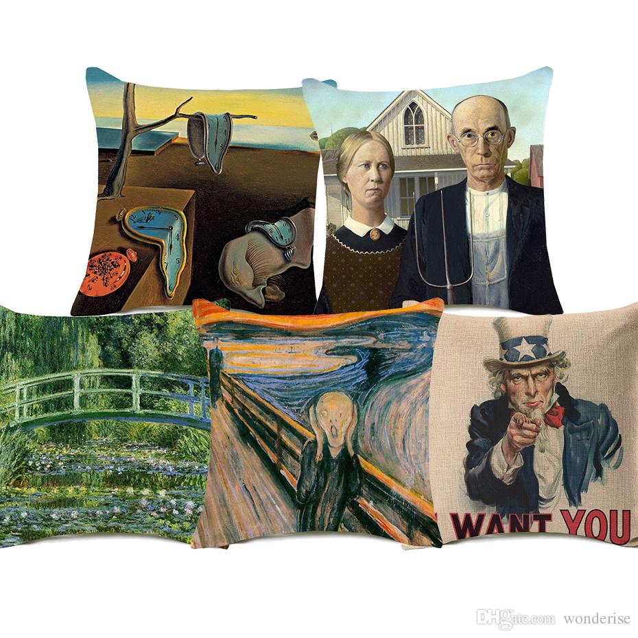 8 Stili American Gothic Uncle Sam Cushion Covers The Persistence Of Memory The Water-Lily Pond Pittura Cuscino Cuscino in lino