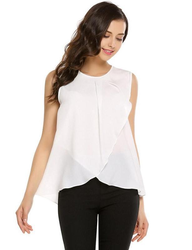 Summer New Style City Casual Sleeveless Crew Neck Hollow Out Chiffon Irregular Shirt Elegant Blouses O-Neck Clothes