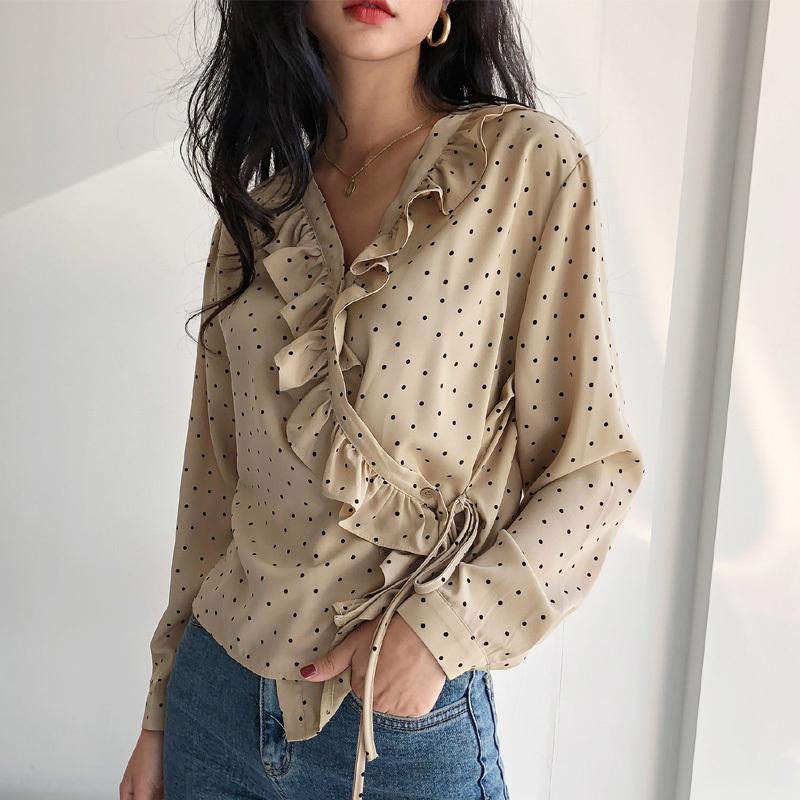 2019 Bahar V Yaka Ruffles Polka Dot kadın Gömlek Kadınsı Dantel UP Bluz Üst Uzun Kollu Casual Kadın Gevşek Bluzlar blusas Y190423