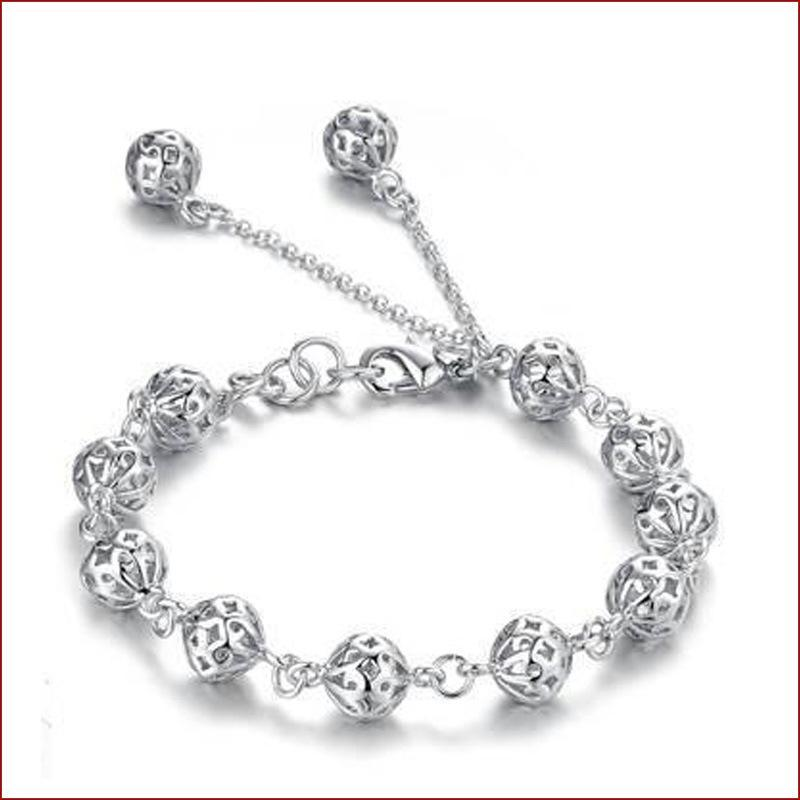 Geometrik Boncuk Charms Bilezik Kore 925 Gümüş Renkli Bilezikler İçin Kadınlar Hollow Boncuk Bileklik Bilezik Takı
