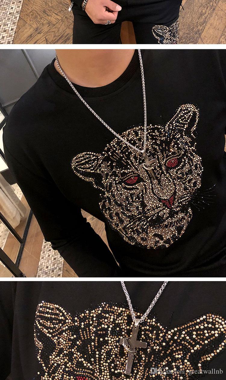 Мужская установка леопарда горный хрусталь бисером черные толстые кофты футболка длинные с гильзом стиль эластичная талия мода / студия / брюки брюки мужские kagj