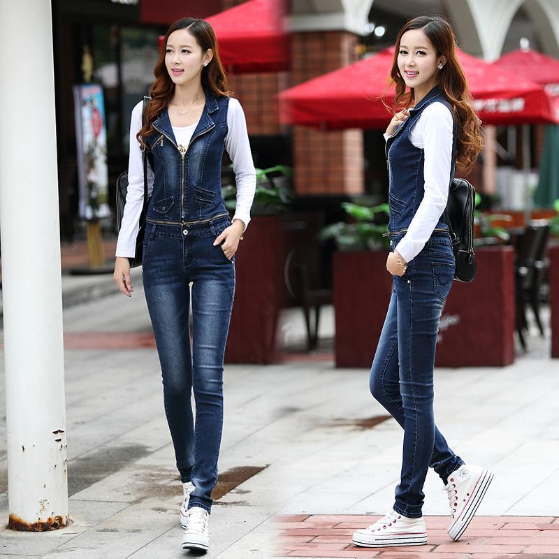 2016 neue Art und Weise Denim beiläufige Strumpfhose Jeans Jumpsuits Abnehmbare Revers Weste mit Taschen Buttons dünne Jeans