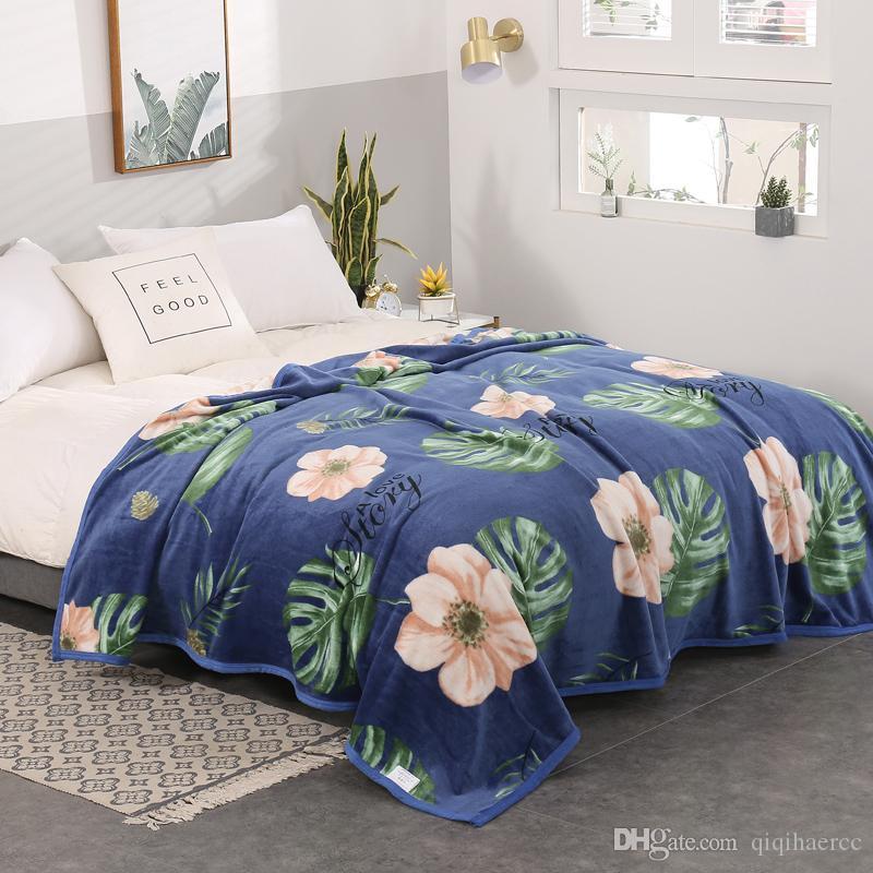 Одеяла цветы стеганые односпальные полные королева король взрослые одеяла мягкие одеялки Фланелевые накидки на кровать / машину / диван синие листья детские пледы коврики