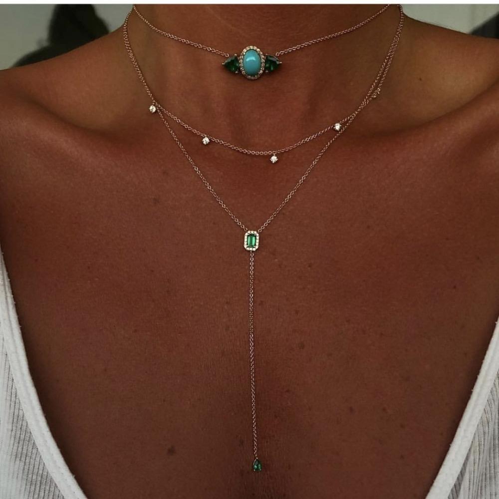 أنيقة المجوهرات AAA زركون الرائعة سلسلة سترة الأخضر CZ الأبيض أزياء قلادات طويلة النساء والمجوهرات V191031