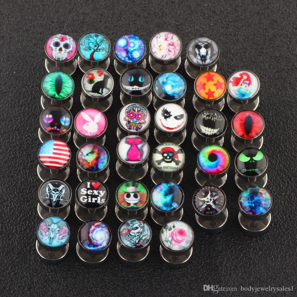 Misture 25 Designs Body Piercing Jewelry Cheater ouvido Gauges Plugues e túneis 50pcs / lot PIRCING Falso Orelha