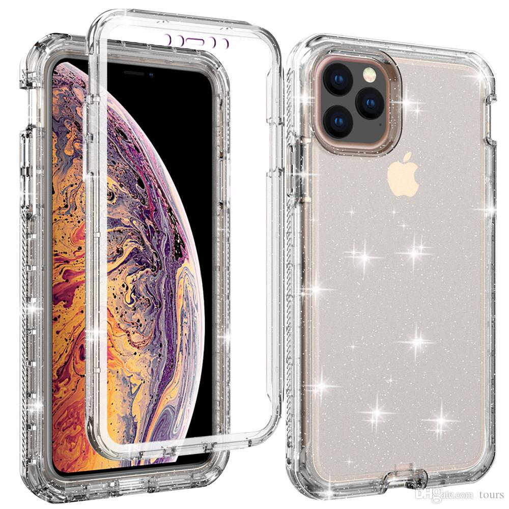 For Iphone 11 Case with Built-In Screen Protector 3in1 Clear Glitter Full-Body Protection Cover Phone Case for Iphone 11 Pro Max