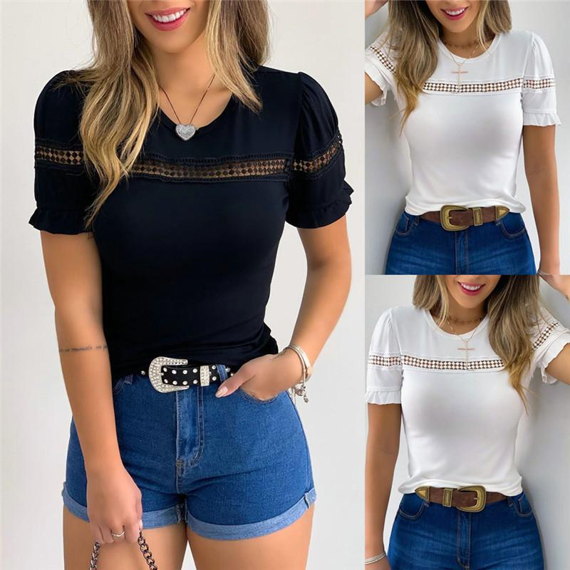 Women Crew Neck Short Sleeve Plain T-shirt Lace Hollow Out T-shirt Outwear 2020 Loose Ladies Summer Hot Casual Tops Tee Shirt