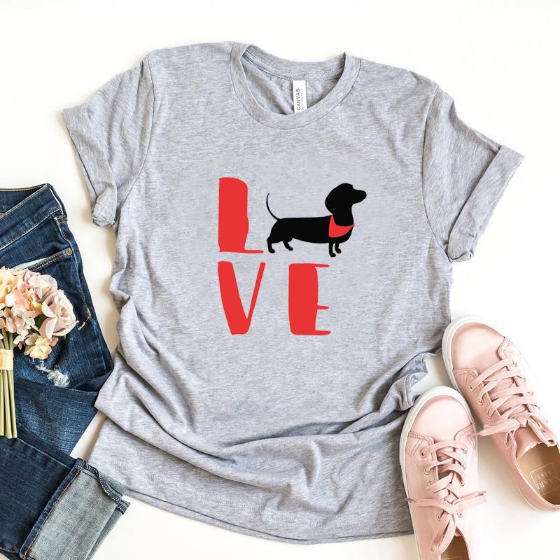 Love Dogs Graphic T-shirts en coton femmes teckel Imprimer manches courtes T-shirt Kawaii Vêtements Tops Animal Lover Tee Drop Shipping