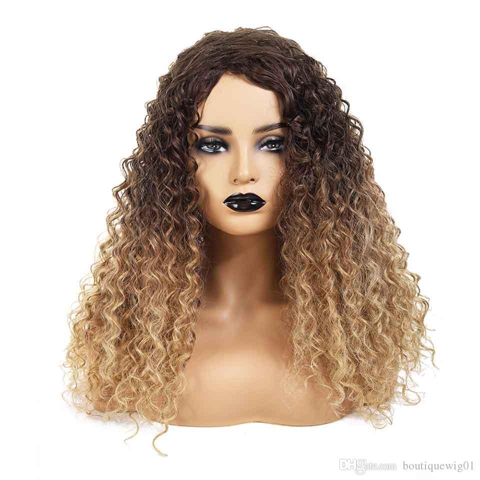 vendita di piena del merletto dei capelli umani parrucche anteriori americano europeo pizzo stile parrucche sintetiche oro marrone gradiente piccolo volume parrucca parrucche femminili intrecciati