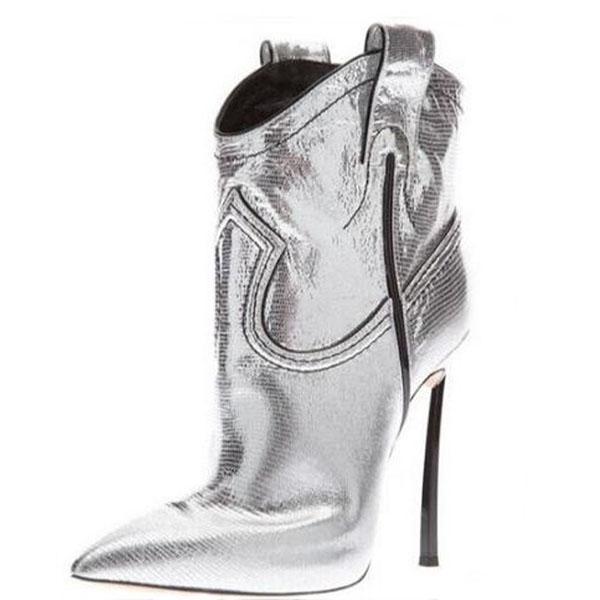Mulheres Moda Pointed Toe Gold Silver Lizard Couro Metal de Spike Heel Botas 12 centímetros Fina Heel Curto Gladiator Botas