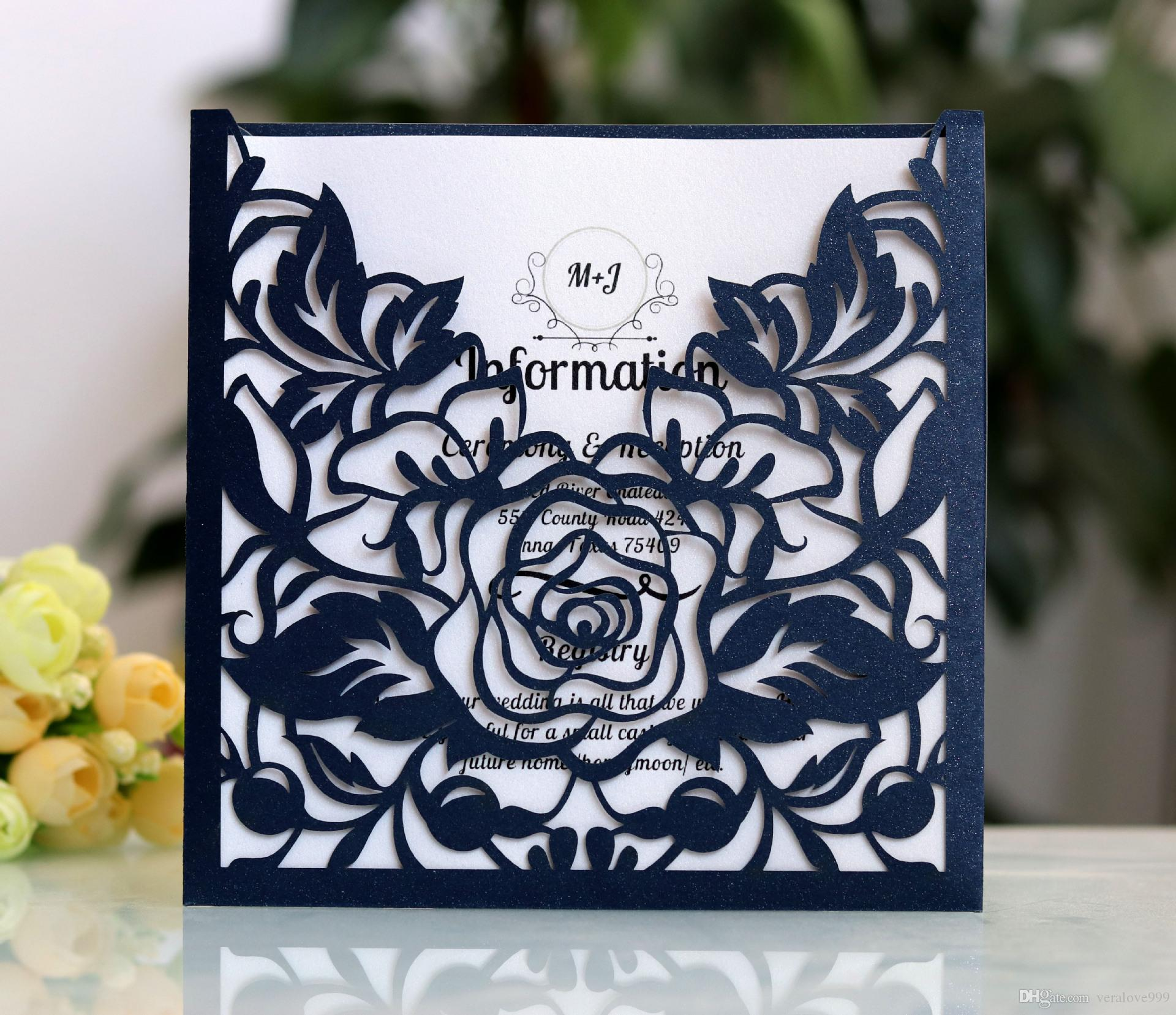Affordable Wedding Invitations.2019 Affordable Wedding Invites Laser Cut Pocket Wedding Invitation Suites Customizable Invites With Envelope Blank Inner Custom Printed Sample