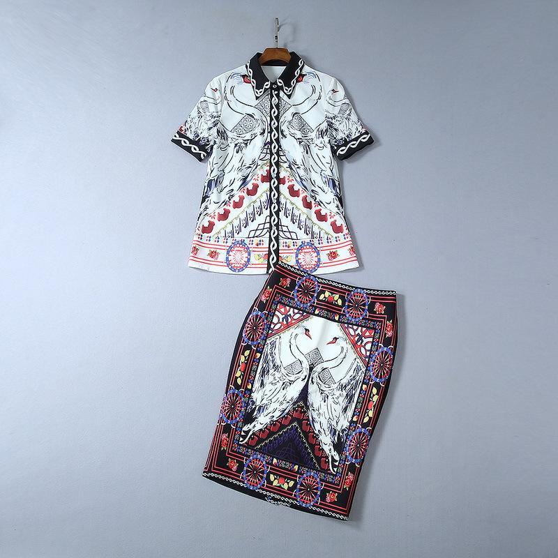 2019 Ladies Newest Luxury Short Sleeve Turn-Down Collar Blouse & Swan Floral Print Mid-Calf Split Skirt 2 Pieces Set Suit 190711Q1508