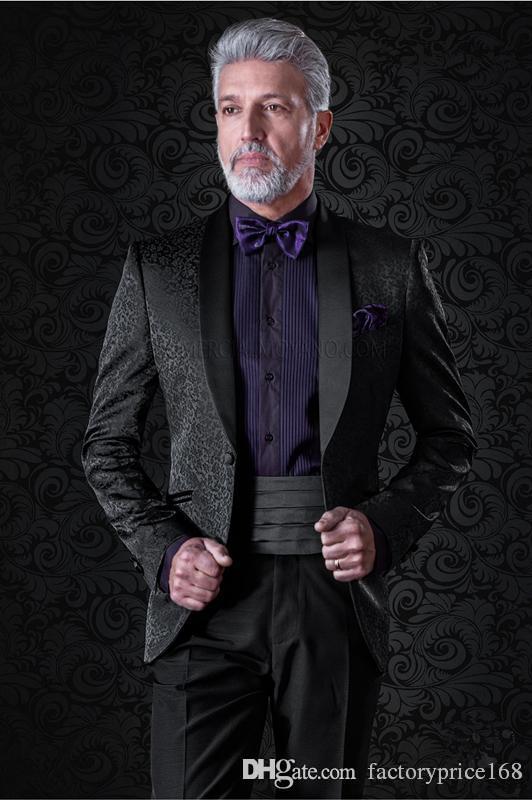 Klasik Jakarlı Groomsmen Şal Yaka Tek Düğme (Ceket + Pantolon + Kravat) Damat smokin Groomsmen Best Man Suit Erkek Düğün Suit Damat