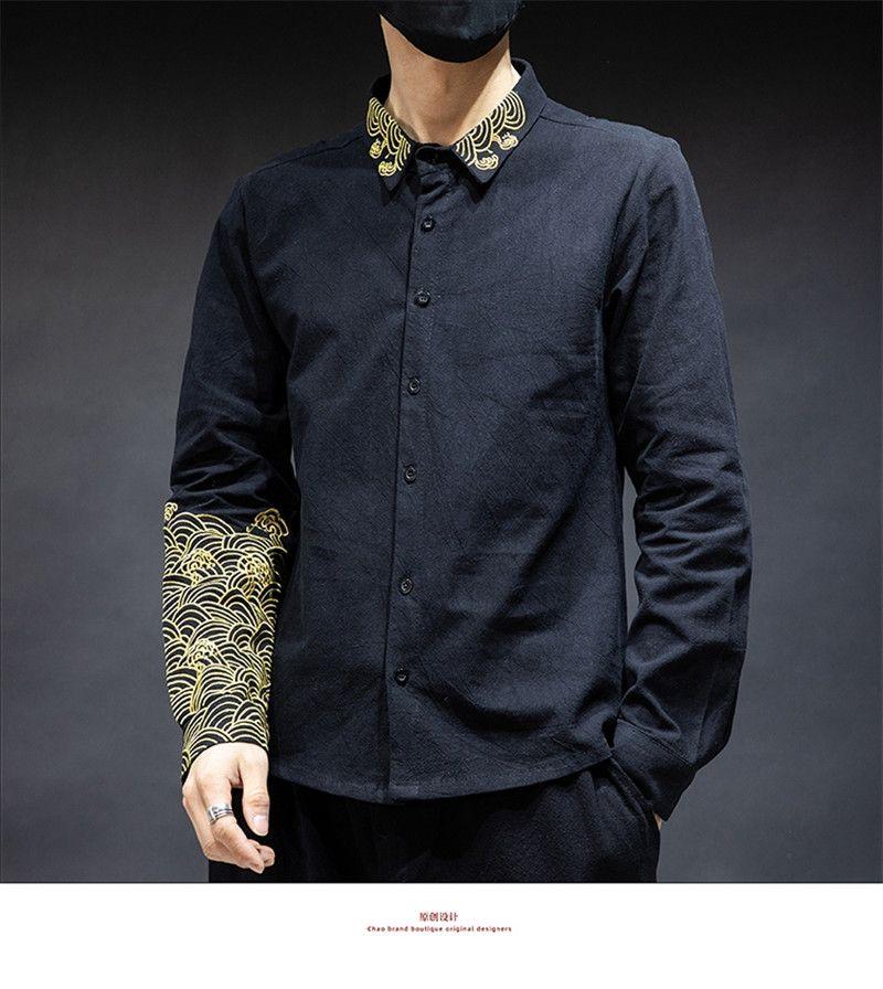 Китайский стиль мужские дизайнерские футболки Мода тонкий Вышитые Щитовые Длинные мужские рукава рубашки Casual Мужчины Одежда