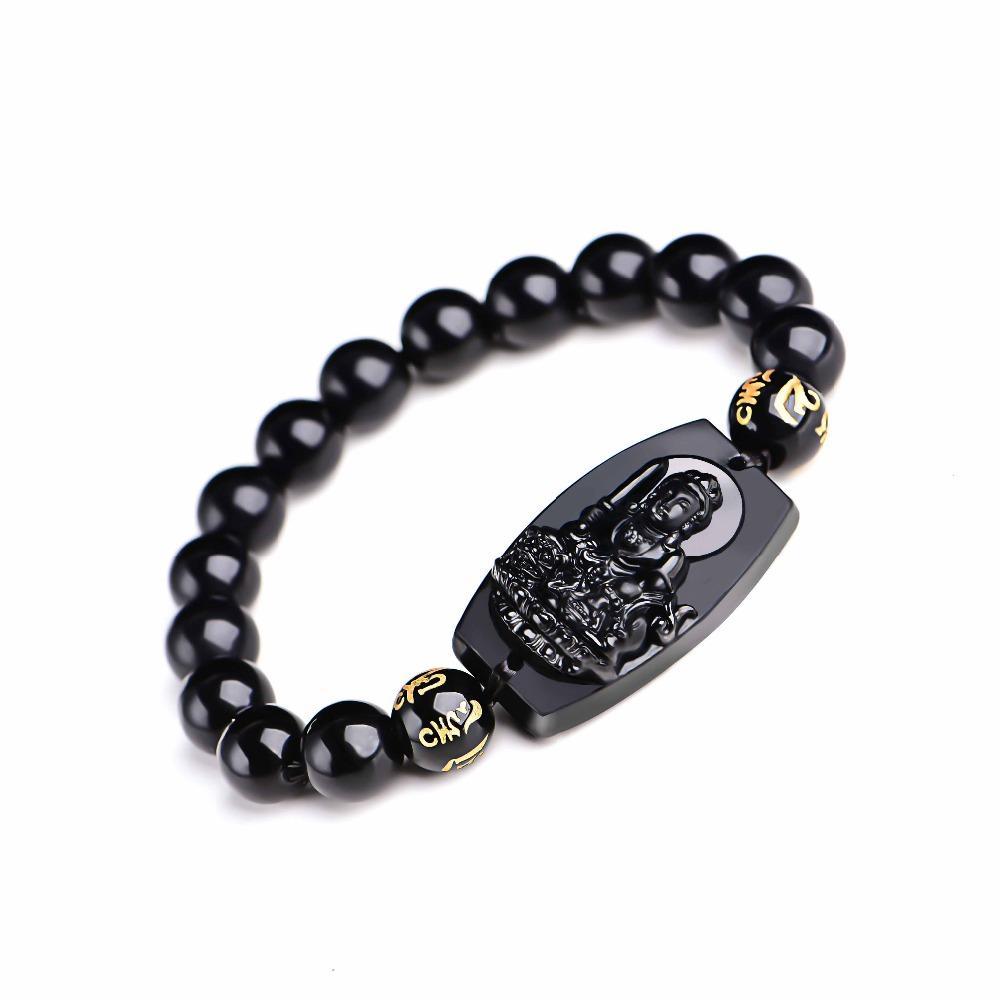 10MM 고품질 자연 흑요석 흑요석 새겨진 부처님 행운의 부적 둥근 구슬 팔찌 여성을위한 남성 팔찌 쥬얼리