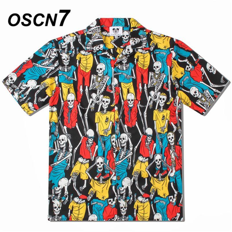 OSCN7 2019 Casual Camicia a maniche corte stampata uomini Via Estate Hawaii Beach camice Donne manica corta Harujuku Mens CS005 CX200618